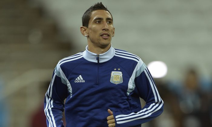 Argentina's midfielder Angel Di Maria takes part in a training session at the Arena de Sao Paulo Stadium, on July 08, on the eve of the 2014 FIFA World Cup semi-final against Netherlands. (JUAN MABROMATA/AFP/Getty Images)