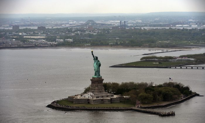The Statue of Liberty is pictured in New York, on May 14, 2014. The statue, designed by Frederic Auguste Bartholdi and dedicated on October 28, 1886, was a gift to the US from the people of France. (JEWEL SAMAD/AFP/Getty Images)