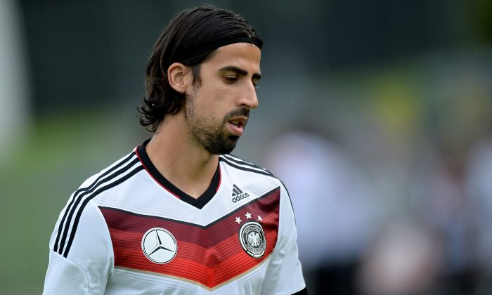 Sami Khedira of Germany looks on during a training session of the German national football team at Paul Janes Stadion on May 31, 2014 in Duesseldorf, Germany. (Photo by Sascha Steinbach/Bongarts/Getty Images)