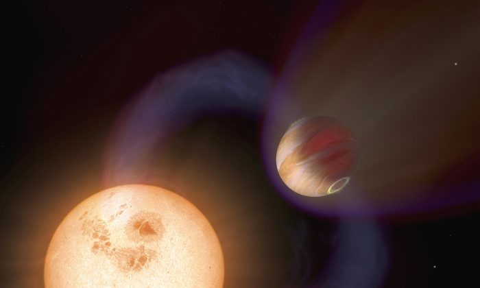 An artist's impression released October 2006 by the European Space Agency shows a type of exoplanet discovered with the Hubble Space Telescope. (AFP/Getty Images)