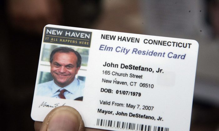 An example of a municipal ID card from New Haven, Connecticut. (AP Photo/Bob Child)