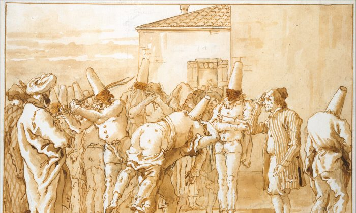 """The Flogging of Punchinello,"" circa 1800, by Giovanni Domenico Tiepolo. (Metropolitan Museum of Art)"