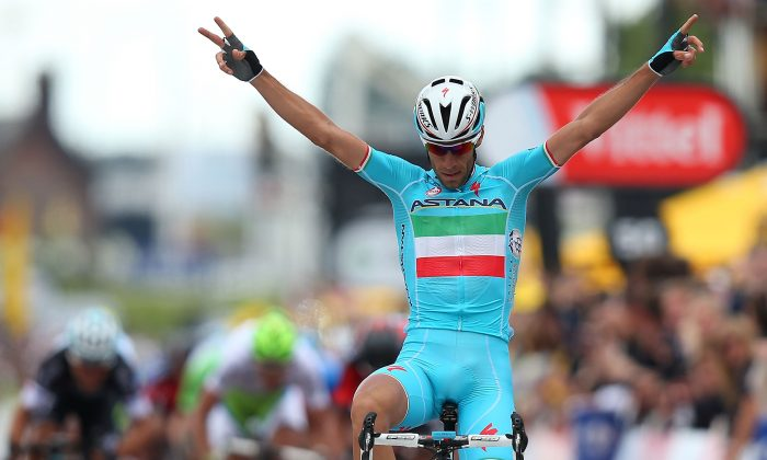 Vincenzo Nibali of Astana crosses the line to win Stage Two of the 2014 Tour de France, a 201-km stage between York and Sheffield, on July 6, 2014 in Sheffield, England. (Bryn Lennon/Getty Images)