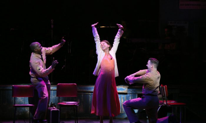 "(L–R) A moment of jubilance for fellow travelers Flick (Joshua Henry), Violet (Sutton Foster), and Monty (Colin Donnell) in ""Violet."" (Joan Marcus)"