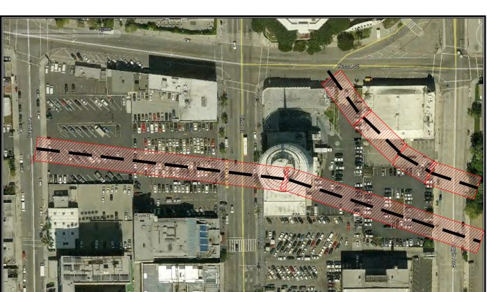 Map of Millennium site in Hollywood, Calif., showing faults and a 50-foot setback as of Jan. 8. (California Geologic Survey Fault Map)