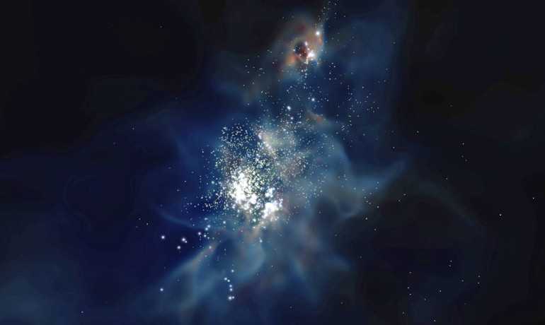A zoom-in of the most massive dwarf galaxy in the simulation when the universe was only 700 million years old. This galaxy only has 3 million solar masses in stars, compared to 60 billion solar masses in our Milky Way. (Georgia Tech)