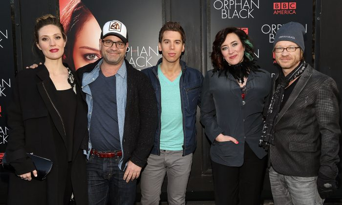 "(L-R) Evelyne Brochu, Graeme Manson, Jordan Gavaris, Maria Doyle Kennedy, and John Fawcett attend the premiere of the Canadian film ""Orphan Black"" at Sunshine Cinema in New York City on April 17, 2014. (Monica Schipper/Getty Images)"