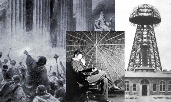 Left: A depiction of the burning of the Library of Alexandria in 391 A.D. (Ambrose Dudley via Wikimedia Commons) Center: Nikola Tesla (Wikimedia Commons) Left: The Wardenclyffe Tower, one of Tesla's unfinished works. (Wikimedia Commons)