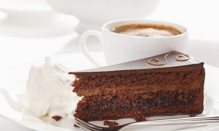 Slice of Sacher cake, the Austrian speciality,  with coffee. (*Shutterstock)