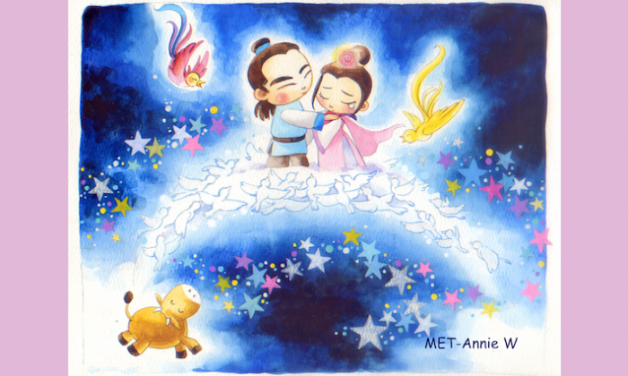 On the night of the 7th day in the 7th month, Niulang and Zhinu can travel across the Milky Way over a bridge formed by magpies for their once-a-year reunion. (Annie Wu/Epoch Times)