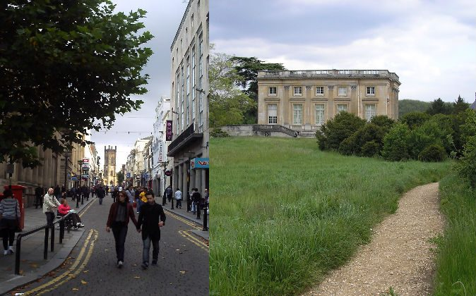 Left: Bold Street in Liverpool, England, where multiple incidences of traveling back in time have been reported. Right: The Petit Trianon in Versailles where the two ladies purportedly traveled back in time in 1901. (Wikimedia Commons)