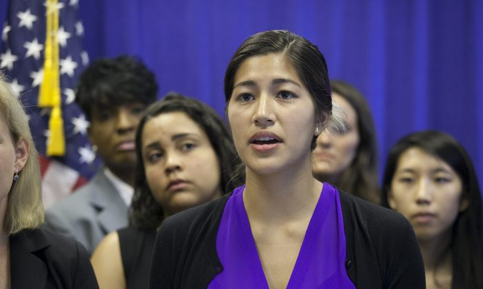 Former Columbia University student and alleged rape victim Emma Sulkowicz speaks at a press conference in New York, in this file photo. Campus tribunals need to adhere to acceptable standards of justice when examining sexual assault cases. (Samira Bouaou/Epoch Times)
