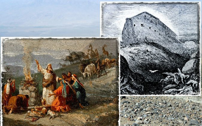 Left: Noah giving thanks for surviving the flood, painted by Domenico Morelli in 1901. (Wikimedia Commons) Right: An engraving of Noah's Ark (Shutterstock*) Background: Mount Agri (Ararat), the highest mountain in Turkey, is where some say Noah's Ark may be found. (Shutterstock*)