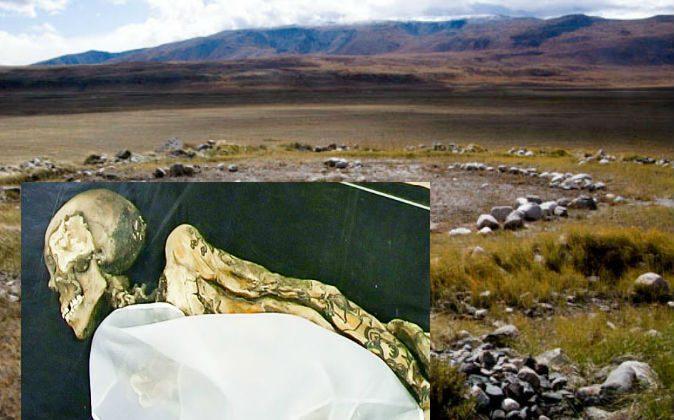 Left: Princess Ukok's mummy (Kobsev via Wikimedia Commons) Background: The grave site where Princess Ukok was found. (Tatyana Penn via Wikimedia Commons)