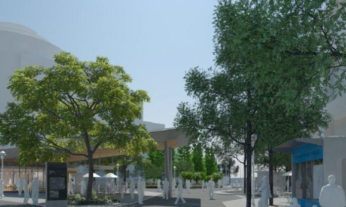 Rendering of Fordham Plaza. (DOT, DDC)