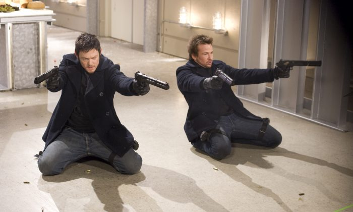 """In this film publicity image released by Apparition Films, Norman Reedus, left, and Sean Patrick Flanery are shown in a scene from """"The Boondock Saints II: All Saints Day."""" (AP Photo/Apparition Films)"""