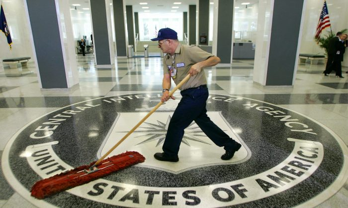 A workman at the Central Intelligence Agency headquarters in Langley, Va., March 3, 2005. (J. Scott Applewhite/AP)