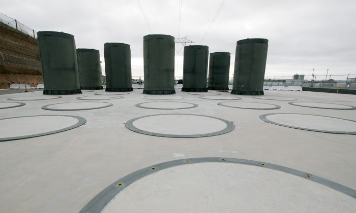 This Nov. 3, 2008, photo shows aboveground casks designed to store radioactive waste from a nuclear reactor at Pacific Gas and Electric's Diablo Canyon Power Plant in Avila Beach, Calif. (AP Photo/Michael A. Mariant)