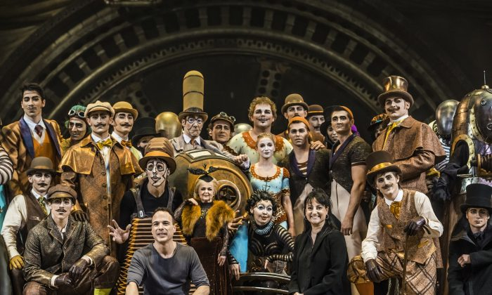 """Writer/director Michel Laprise (L) with director of creation Chantal Tremblay and the cast of Cirque du Soleil's """"Kurios: Cabinet of Curiosities."""" (Martin Girard shootstudio.ca)"""