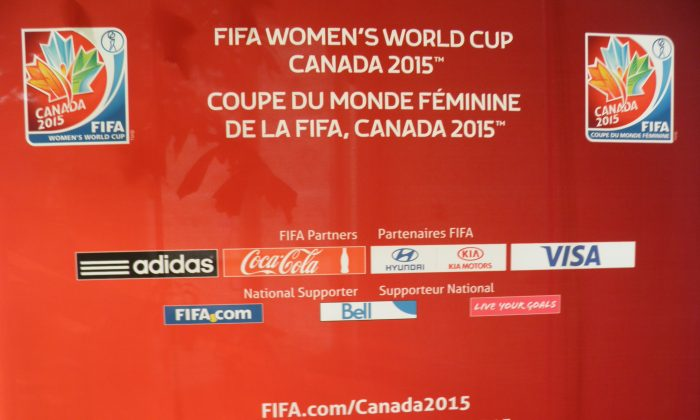 FIFA Women's Word Cup Canada 2015 board at City Hall in Ottawa on Sept. 5, 2014 (Rahul Vaidyanath/ Epoch Times)
