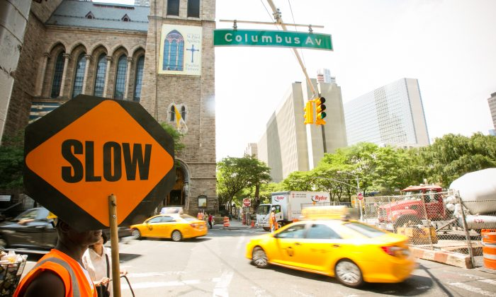 The intersection on Columbus Circle where a pedestrian was run over by a taxi on July 1, 2014. (Edward Dai/Epoch Times)