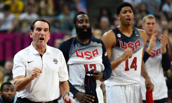 1ed59aa50a93 Head coach Mike Krzyzewski of the USA Basketball Men s National Team reacts  during a 2014 FIBA