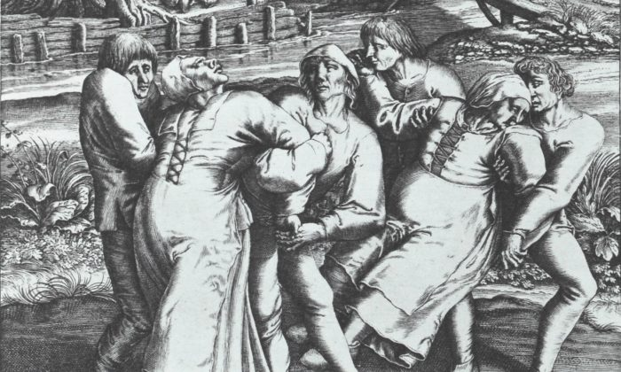 Engraving of Hendrik Hondius portraying three women affected by the 'dancing plague.' Work based on original drawing by Peter Brueghel, who supposedly witnessed an outbreak in 1564 in Flanders.  (Wikimedia Commons)