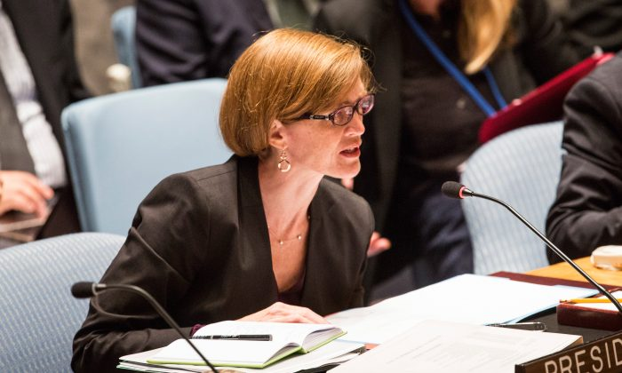 United States Ambassador to the United Nations, Samantha Power, chairs a United Nations Security Council meeting on 'The Palestinian Question' on Sept. 16, 2014 in New York City. (Andrew Burton/Getty Images)