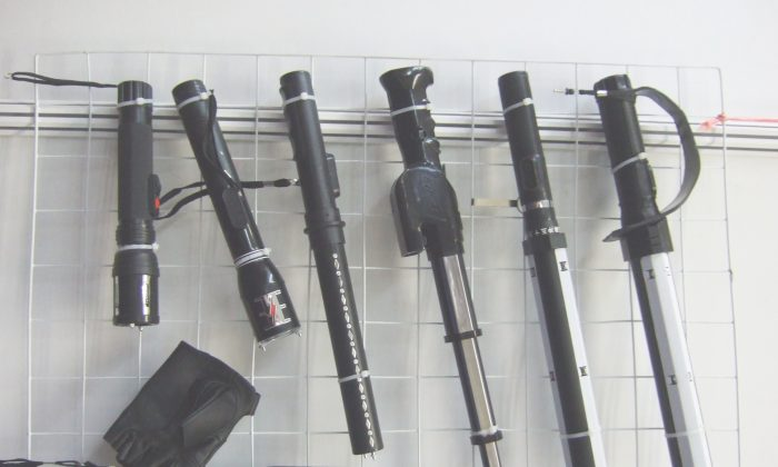 Chinese electric shock stun batons, on display at the Jiangsu AnHua Police Equipment stand at China Police, 2008. A new report by Amnesty International documents the international trade in Chinese-made torture instruments. (Robin Ballantyne)