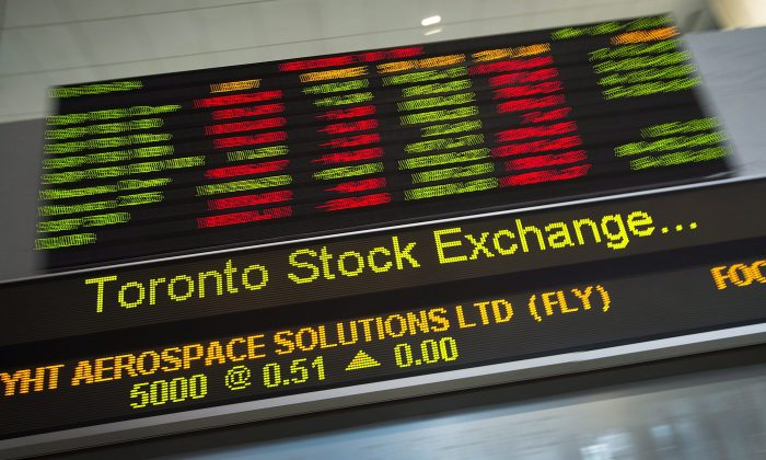 Financial numbers flow on the digital ticker tape at the TMX Group in Toronto's financial district. (The Canadian Press/Darren Calabrese)