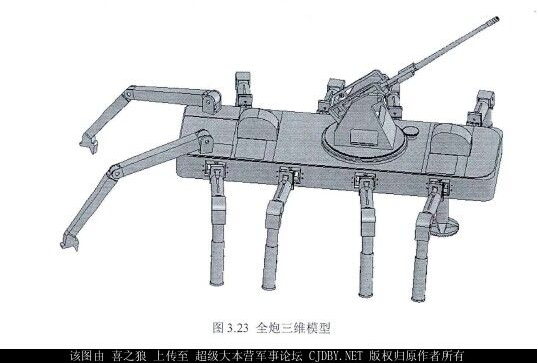 A design concept for China's Crab Walker military robot shows a walking vehicle mounted with a 30mm autocannon. The proposed vehicle could walk in mountainous terrain. (CJDBY.net)