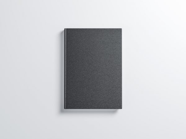 Black blank Book Mockup with textured hard cover. 3d rendering