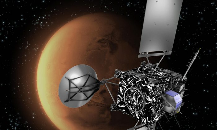 Artist's impression of the European Space Agency (ESA) probe Rosetta with Mars in the background. (C. Carreau/ESA/AFP/Getty Images)