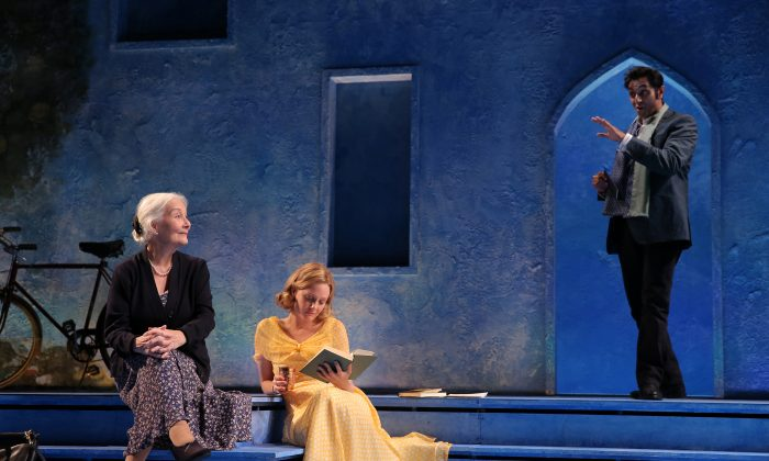 """(L–R) Rosemary Harris, Romola Garai, and Bhavesh Patel appear in a scene from Tom Stoppard's """"Indian Ink"""", currently performing off-Broadway at the Laura Pels Theatre. (AP Photo/Roundabout Theatre Company, Joan Marcus)"""
