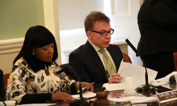 """New York City Councilman James Vacca at a hearing in City Hall, March 2014. In September, Vacca co-sponsored a bill to create a city open petition website similar to the White House's """"We the People"""" website, but the mayor's digital director rejected the idea at an initial hearing on the bill, on Wednesday, Oct. 1, 2014. (Seth Hirsch/Epoch Times)"""