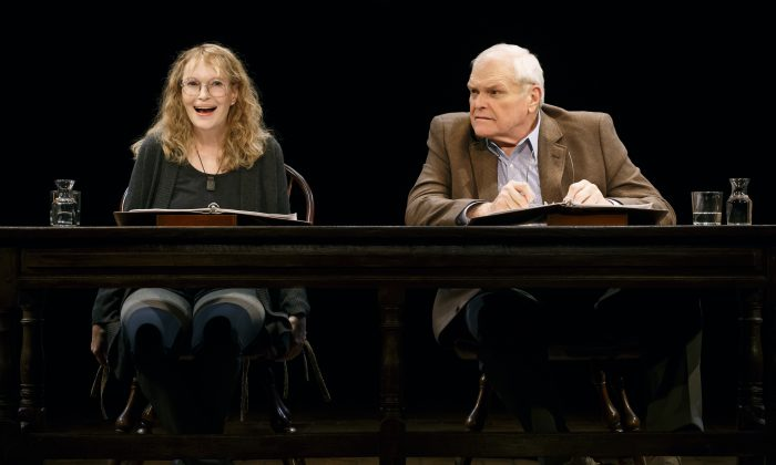 "Mia Farrow and Brian Dennehy in ""Love Letters"" at the Brook Atkinson Theatre, with an open run. Various actors will take over the roles during its run. (Carol Rosegg)"