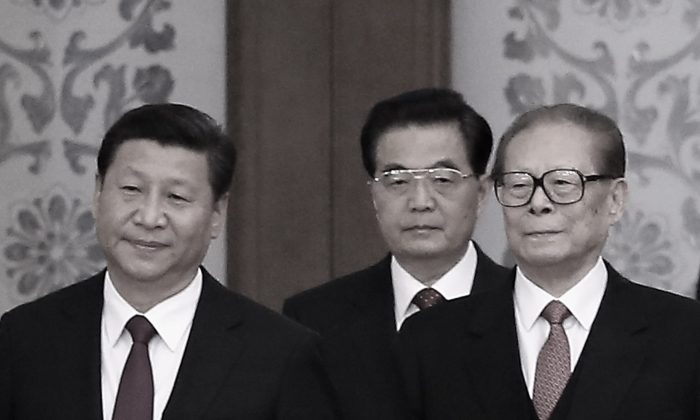 (L to R) Chinese Communist Party Head Xi Jinping and his predecessors Hu Jintao and Jiang Zemin on Sept. 30, 2014 in Beijing, China.  (Feng Li/Getty Images)
