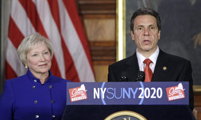 New York Gov. Andrew Cuomo at a funding competition for the State University of New York's four university centers in New York on May 2, 2011 (AP Photo/Mike Groll)