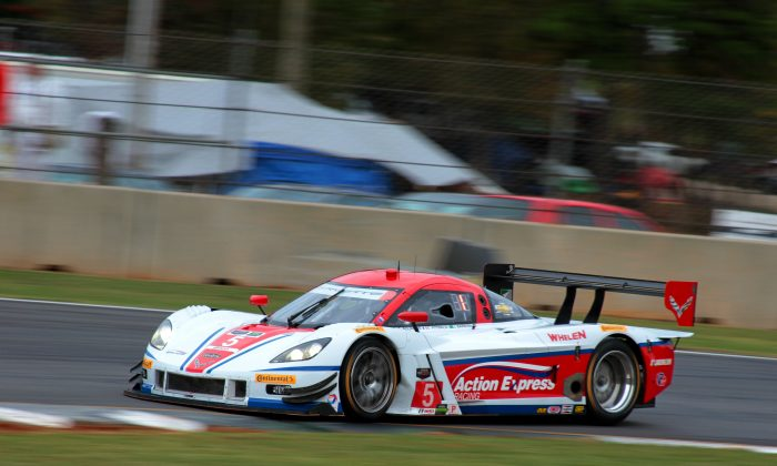 Christian Fittipaldi in the  #5 Action Express Racing Coyote-Corvette won pole for the Tudor United Sportscar Champion Petit Le Mans season finale with a record-setting lap of 1:14.508 at 122.725 mph. (Chris Jasurek/Epoch Times)