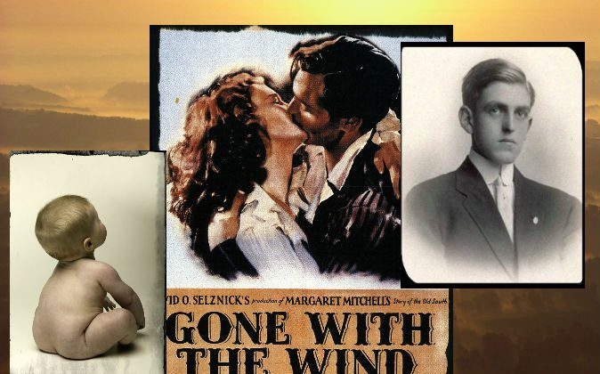 "Right: Playwright and screenwriter Sidney Coe Howard (1891–1939), writer of ""Gone With the Wind."" (Wikimedia Commons) Center: Film poster for ""Gone With the Wind."" (Wikimedia Commons) Left: A file photo of a baby. (Photodisc/Photodisc/Thinkstock) Background: (Craig Aurness/Fuse/Thinkstock)"