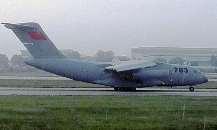 The Xian Aircraft Corporation's Y-20 heavy freighter is seen on a runway in China. The aircraft could increase China's ability to project power. (CJDBY)