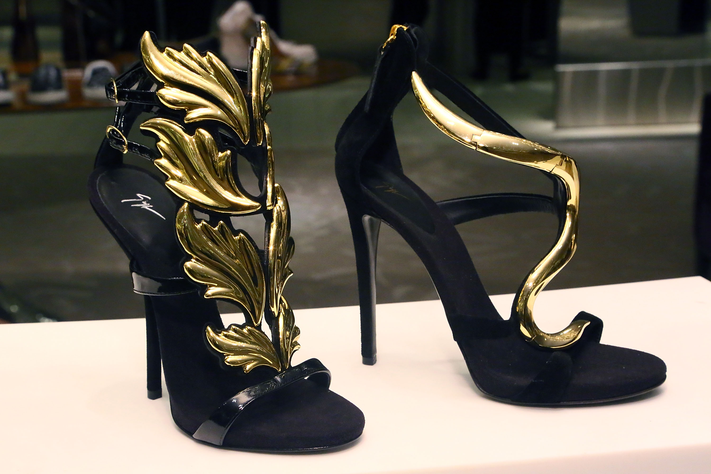 giuseppe zanotti heels are displayed during marie claires shoes first shopping event at saks fifth avenue