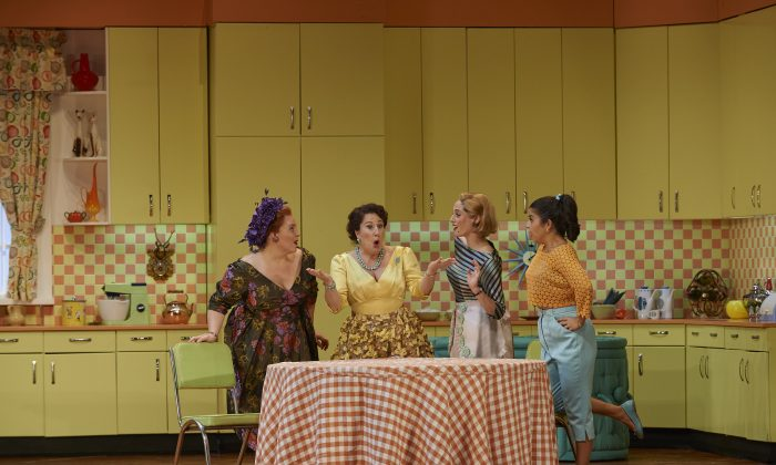 "(L-R) Marie-Nicole Lemieux as Mistress Quickly, Lyne Fortin as Alice Ford, Lauren Segal as Meg Page, and Simone Osborne as Nannetta in the Canadian Opera Company's 2014 production of ""Falstaff."" (Michael Cooper)"