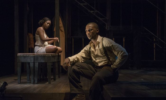 """Bessie (Tracey N. Bonner) and Bigger (Jerod Haynes) in Chicago's Court Theatre's production of """"Native Son."""" (Michael Brosilow)"""