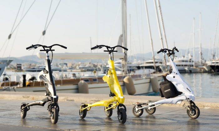 The Pon-e, the first motored carving vehicle on the market, still gives a full-body workout with the added convenience of being a more practical commuting vehicle. (Courtesy of Trikke)