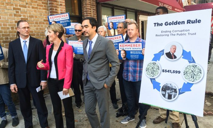 (L–R) James Kemmerer, Zephyr Teachout, and Tim Wu at a press conference in the Bay Ridge neighborhood of Brooklyn, N.Y., on Oct. 8, 2014. Teachout and Wu endorsed Kemmerer in his race against incumbent state senator Martin Golden. (Jonathan Zhou/Epoch Times)