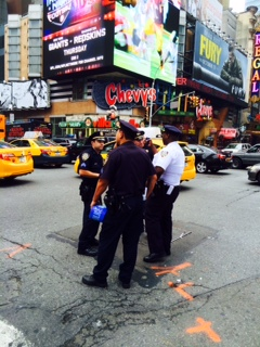 NYPD on duty at Times Square on Sept. 21, 2014. (Vincent J. Bove)