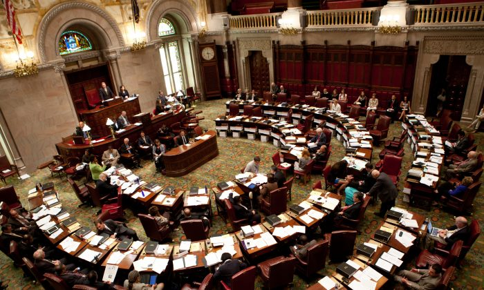 The New York State Senate in a June 16, 2011, file photo. A new bill was passed which will make it easier to prosecute child sex traffickers. (Matthew Cavanaugh/Getty Images)
