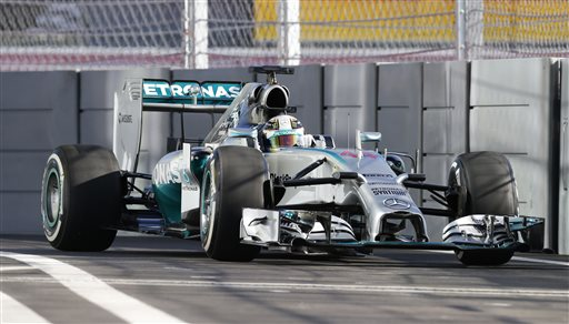 Mercedes driver Lewis Hamilton of Britain steers his car during the first free practice at the Sochi Autodrom Formula One circuit, in Sochi, Russia, Friday, Oct. 10, 2014. The inaugural Russian GP will be held on Sunday in Sochi, the Black Sea resort that hosted this year's Winter Olympics. (AP Photo/Luca Bruno)