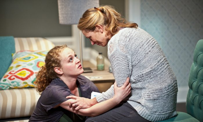 "(L–R) Caroline Neff and Brenda Barrie appear in ""The Downpour"" at Chicago's Greenhouse Theater Center. (Brandon Dahlquist)"